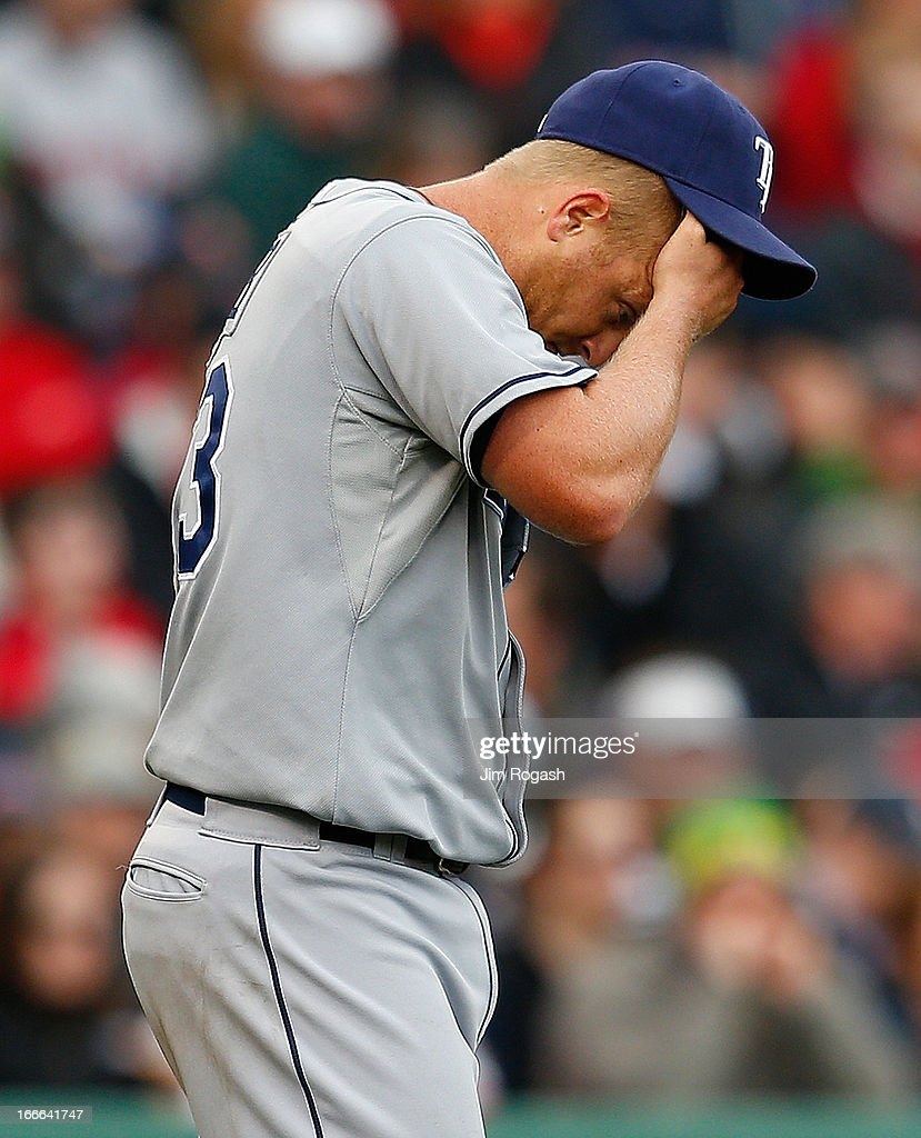 <a gi-track='captionPersonalityLinkClicked' href=/galleries/search?phrase=Alex+Cobb&family=editorial&specificpeople=7512114 ng-click='$event.stopPropagation()'>Alex Cobb</a> #53 of the Tampa Bay Rays reacts after giving up two runs in the third inning against the Boston Red Sox in the first inning at Fenway Park on April 14, 2013 in Boston, Massachusetts.