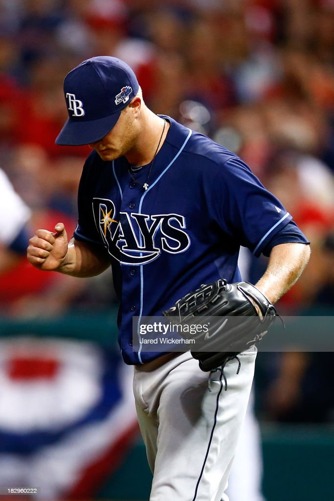 Alex Cobb #53 of the Tampa Bay Rays reacts in the sixth inning against the Cleveland Indians during the American League Wild Card game at Progressive Field on October 2, 2013 in Cleveland, Ohio.