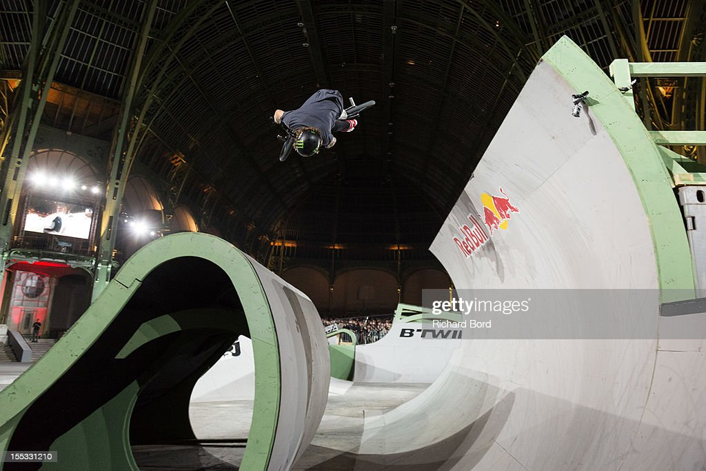 Alex Coleborn of UK performs during the finals of the RedBull Skylines BMX Contest at Grand Palais on November 2, 2012 in Paris, France.