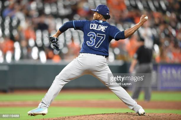 Alex Colome of the Tampa Bay Rays pitches during a baseball game against the Baltimore Orioles at Oriole Park at Camden Yards on September 23 2017 in...