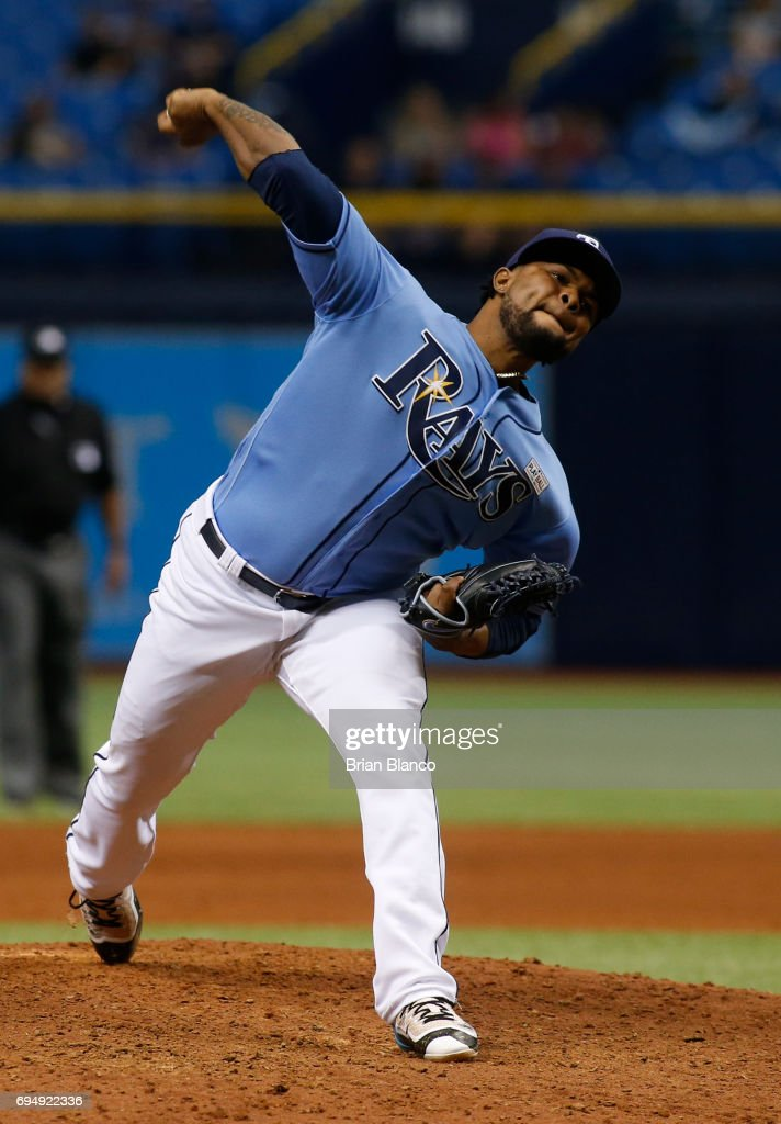 Alex Colome #37 of the Tampa Bay Rays pitches during the ninth inning of a game against the Oakland Athletics on June 11, 2017 at Tropicana Field in St. Petersburg, Florida.