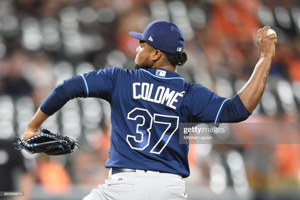 Alex Colome #37 of the Tampa Bay Rays pitches in the ninth inning for his 46th save during a baseball game against the Baltimore Orioles at Oriole Park at Camden Yards on September 23, 2017 in Baltimore, Maryland.