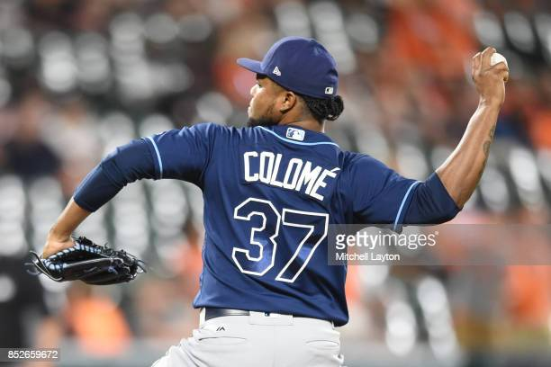 Alex Colome of the Tampa Bay Rays pitches in the ninth inning for his 46th save during a baseball game against the Baltimore Orioles at Oriole Park...