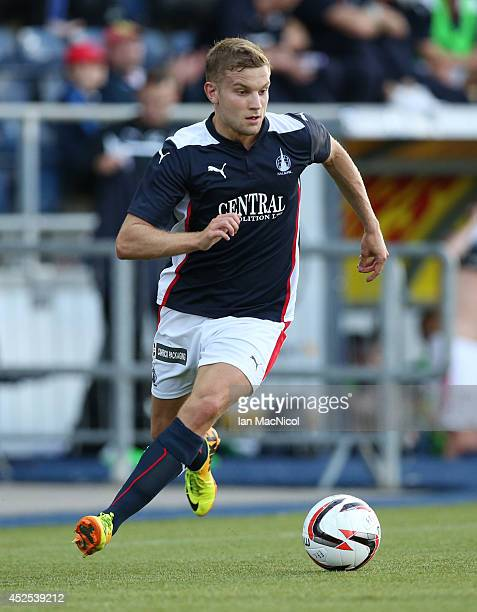 Alex Cooper of Falkirk controls the ball during the Stirlingshire Cup Final match between Falkirk and Stirling Albion at The Falkirk Stadium on July...