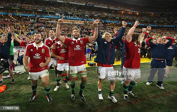 Alex Corbisiero Geoff Parling Richard Hibbard and Adam Jones celebrate after their victory during the International Test match between the Australian...