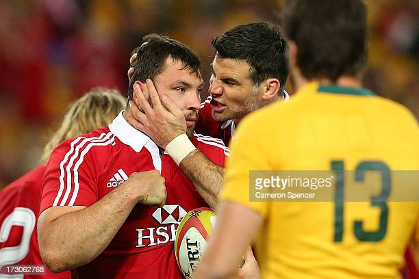 Alex Corbisiero of the Lions celebrates scoring a try during the International Test match between the Australian Wallabies and British Irish Lions at...