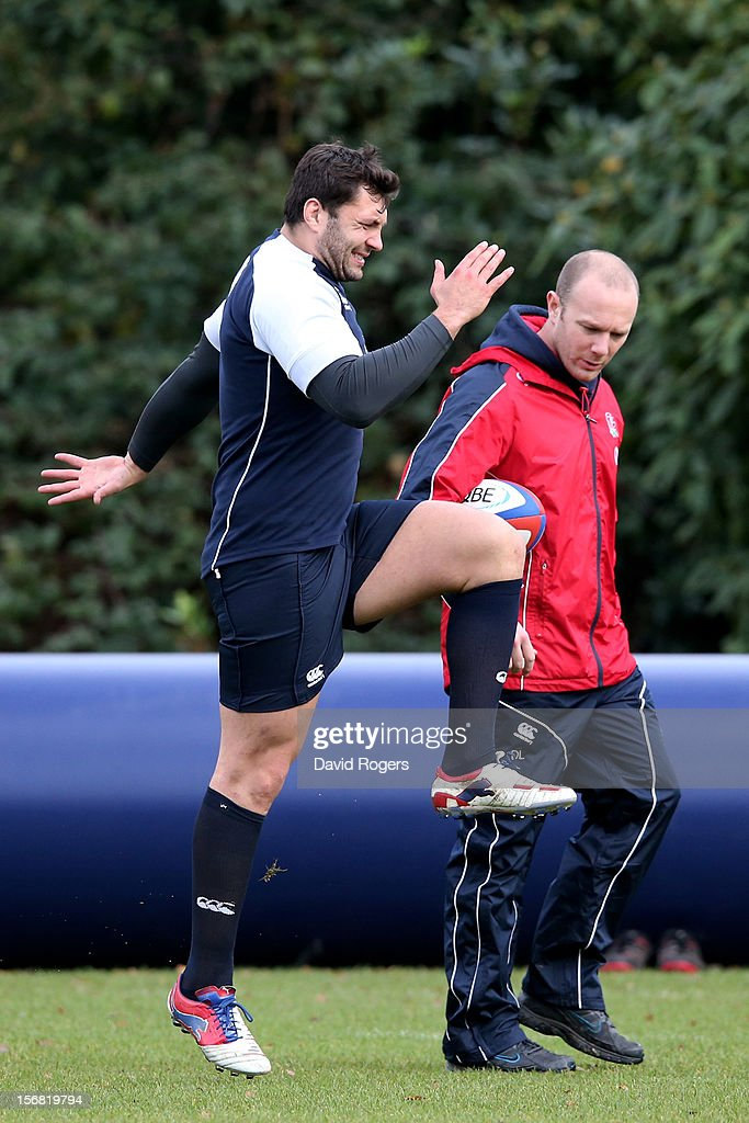 Alex Corbisiero warms up during the England training session at Pennyhill Park on November 22, 2012 in Bagshot, England.