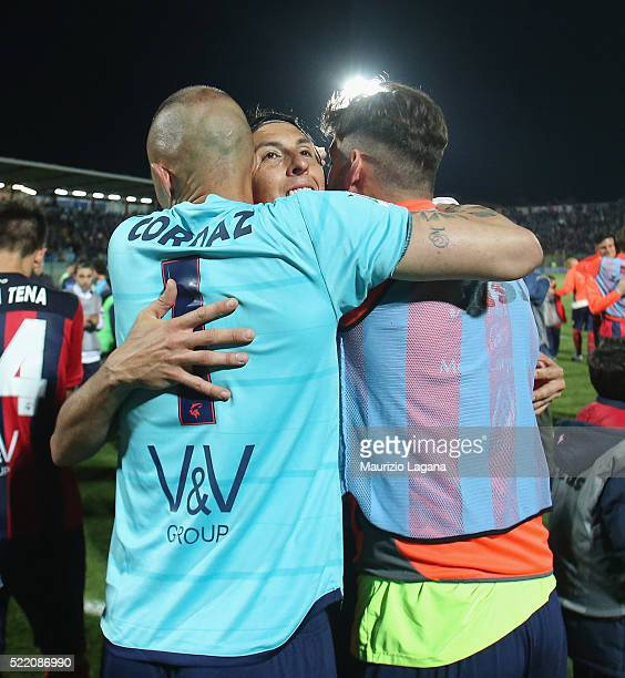 Alex Cordaz and Claiton of Crotone celebrate after the Serie B match between FC Crotone and AC Spezia at Stadio Comunale Ezio Scida on April 15 2016...
