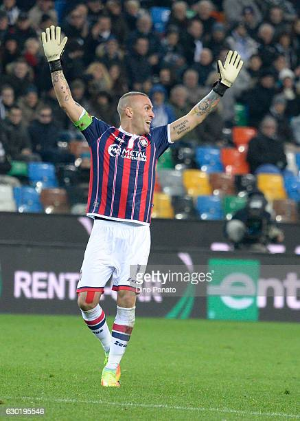 Alex Cordaz goalkeeper of FC Crotone reacts after receiving a red card during the Serie A match between Udinese Calcio and FC Crotone at Stadio...