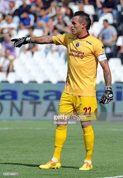 Alex Cordaz of Cittadella in action during the Serie B match between AC Cesena and AS Cittadella at Dino Manuzzi Stadium on September 22 2012 in...