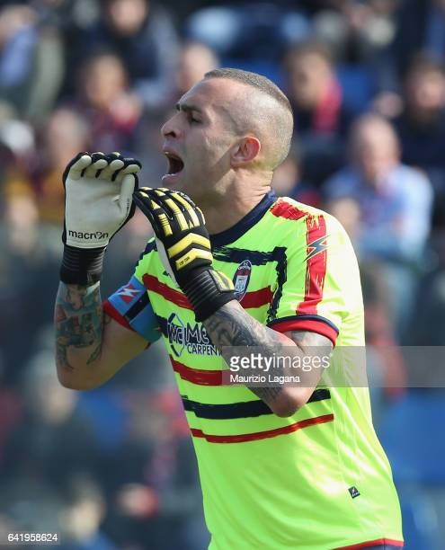 Alex Cordaz of Crotone during the Serie A match between FC Crotone and AS Roma at Stadio Comunale Ezio Scida on February 12 2017 in Crotone Italy