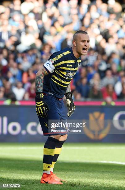 Alex Cordaz of FC Crotone in action during the Serie A match between SSC Napoli and FC Crotone at Stadio San Paolo on March 12 2017 in Naples Italy
