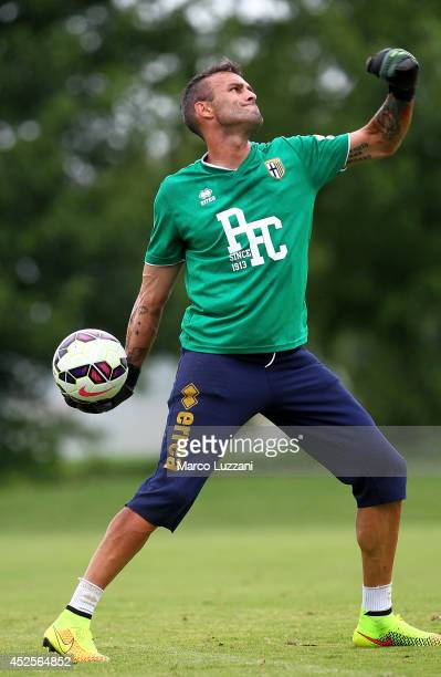Alex Cordaz of FC Parma in action during FC Parma Training Session at the club's training ground on July 23 2014 in Collecchio Italy