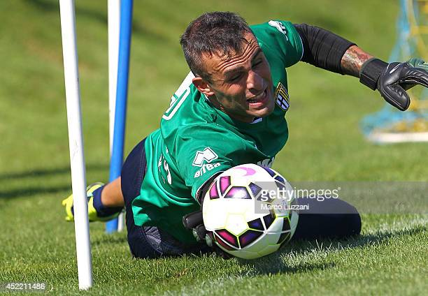 Alex Cordaz of Parma dives to save a shot during FC Parma Training Session at the club's training ground on July 16 2014 in Collecchio Italy