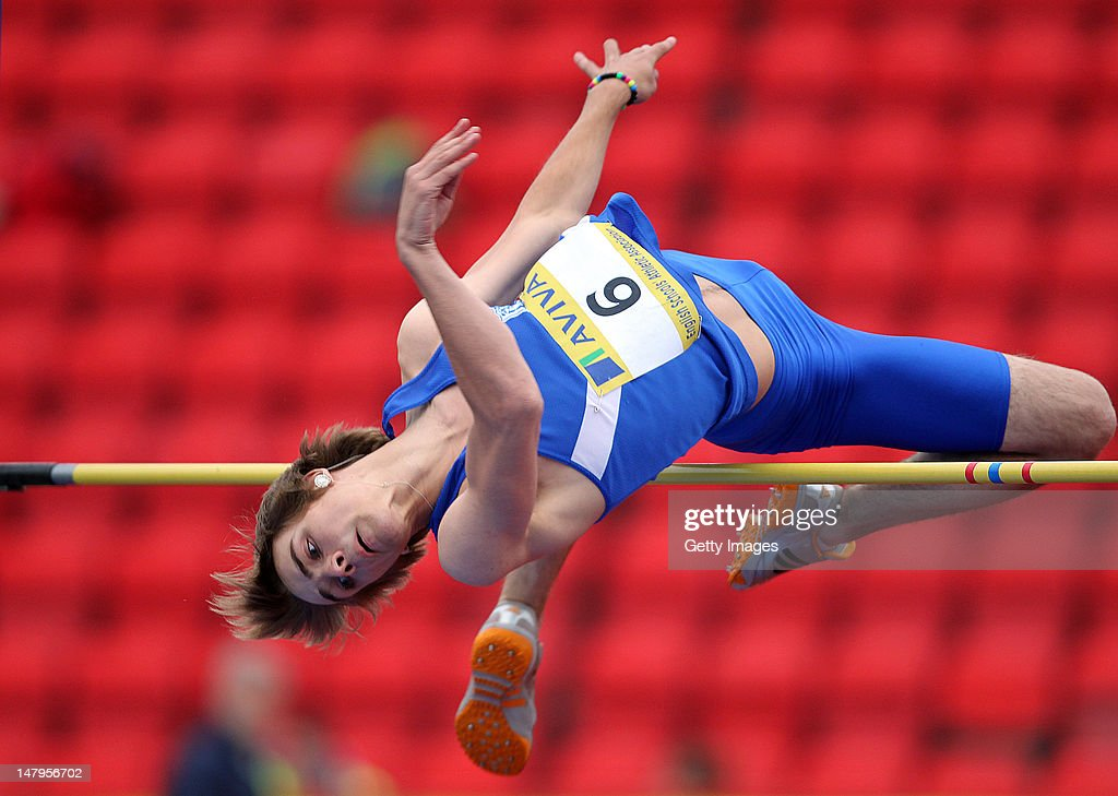 Alex Craninx competes in the Senior Boys High Jump Final during day one of the Aviva English Schools Track and Field Championships at the Gateshead International Stadium on July 6, 2012 in Gateshead, England. Search Aviva Athletics on Facebook to Back The Team.
