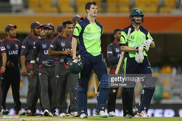 Alex Cusack and George Dockrell of Ireland celebrate winning the 2015 ICC Cricket World Cup match between Ireland and the United Arab Emirates at The...