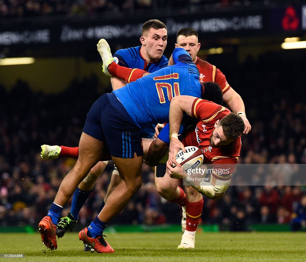 <a gi-track='captionPersonalityLinkClicked' href=/galleries/search?phrase=Alex+Cuthbert&family=editorial&specificpeople=6143846 ng-click='$event.stopPropagation()'>Alex Cuthbert</a> of Wales is tip tackled by Jonathan Danty of France during the RBS Six Nations match between Wales and France at the Principality Stadium on February 26, 2016 in Cardiff, Wales.