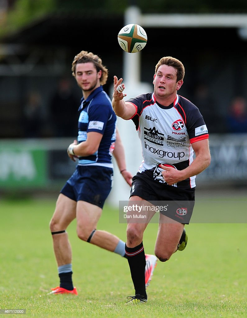 Alex Dancer of Cornish Pirates struggles to control the ball during the British Irish Cup match between Cornish Pirates and Bedford Blues at Mennaye...