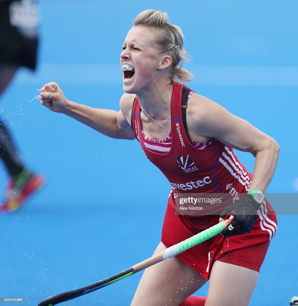 <a gi-track='captionPersonalityLinkClicked' href=/galleries/search?phrase=Alex+Danson&family=editorial&specificpeople=3415241 ng-click='$event.stopPropagation()'>Alex Danson</a> of Great Britain celebrates after scoring their first goal during the FIH Women's Hockey Champions Trophy 2016 match between New Zealand and Great Britain at Queen Elizabeth Olympic Park on June 26, 2016 in London, England.