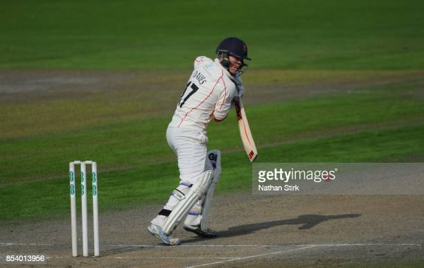 Alex Davies of Lancashire batting during the County Championship Division One match between Lancashire and Surrey at Old Trafford on September 26...