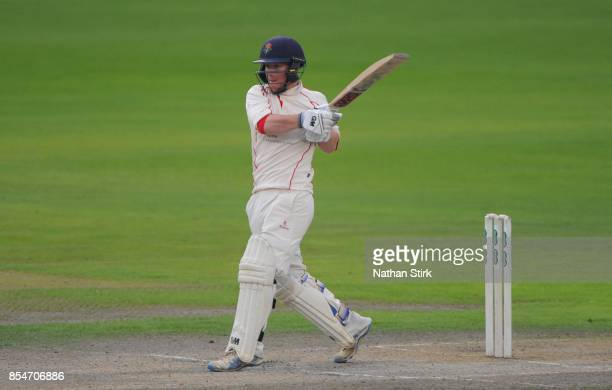 Alex Davies of Lancashire batting during the County Championship Division One match between Lancashire and Surrey at Old Trafford on September 27...