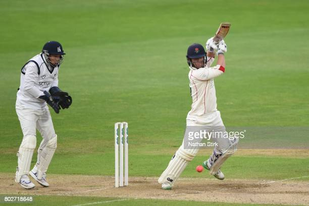 Alex Davies of Lancashire batting during the Specsavers County Championship Division One match between Warwickshire and Lancashire at Edgbaston on...