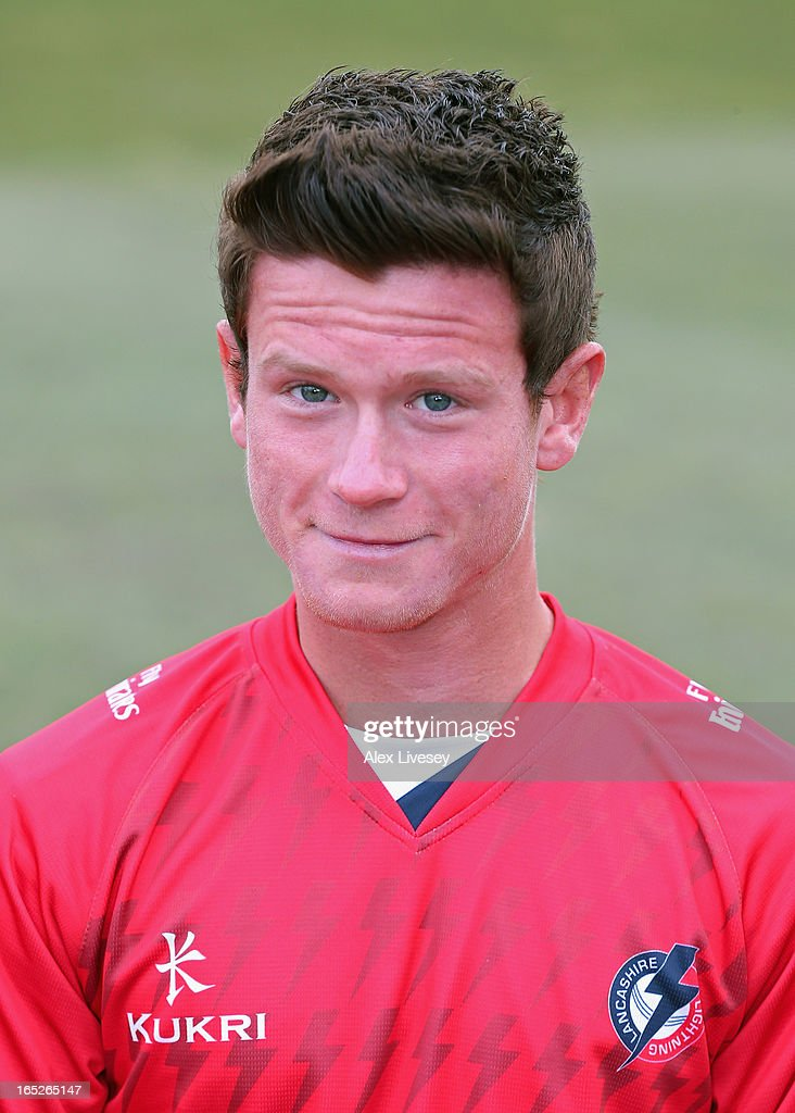 Alex Davies of Lancashire CCC wears the T20 kit during a pre-season photocall at Old Trafford on April 2, 2013 in Manchester, England.