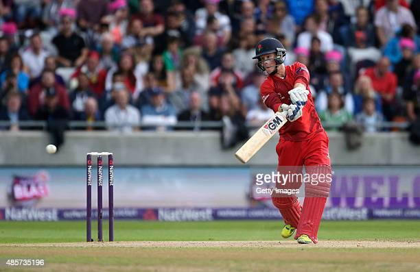 Alex Davies of Lancashire hits out during the NatWest T20 Blast Final between Lancashire Lightning and Northamptonshire Steelbacks at Edgbaston on...