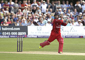 Alex Davies of Lancashire scores runs during the NatWest T20 Blast quarter final match between Kent Spitfires and Lancashire Lightning at The...