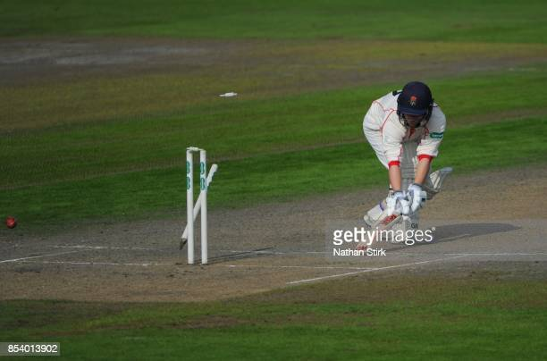 Alex Davies of Lancashire slides his bat back in the crease during the County Championship Division One match between Lancashire and Surrey at Old...