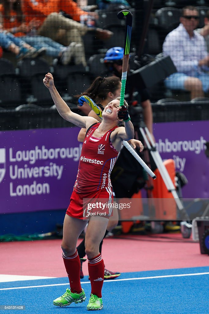 Alex Dawson of Great Britain celebrates her goal during the FIH Women's Hockey Champions Trophy 2016 match between New Zealand and Great Britain at Queen Elizabeth Olympic Park on June 26, 2016 in London, England.