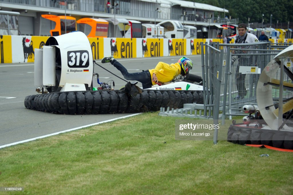 Alex De Angelis of Italy and JIR Moto2 drives the hovercraft and crashed on track during the preevent 'Riders from the 3 categories will drive...