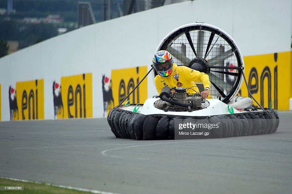 Alex De Angelis of Italy and JIR Moto2 drives the hovercraft on track during the preevent 'Riders from the 3 categories will drive hovercrafts'...