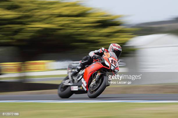 Alex De Angelis of Rep San Marino and IodaRacing Team heads down a straight during practice for round one of the 2016 World Superbike Championship at...