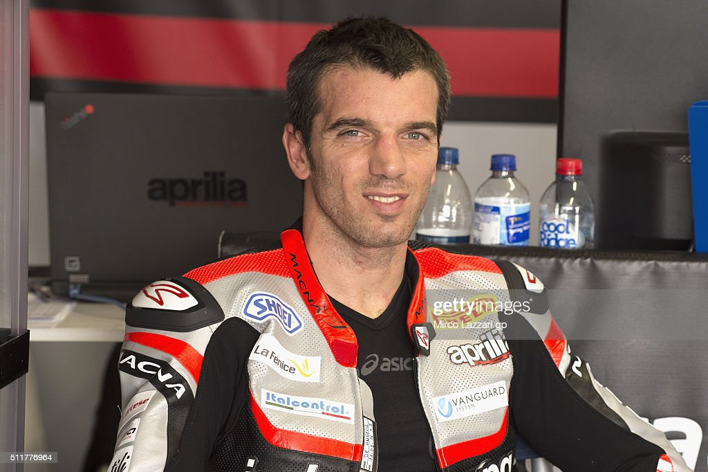 Alex De Angelis of Rep. San Marino and IodaRacing Team smiles in box during the 2016 World Superbikes Tests In Phillip Island at Phillip Island Grand Prix Circuit on February 23, 2016 in Phillip Island, Australia.