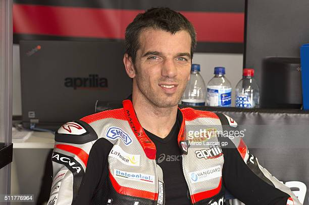 Alex De Angelis of Rep San Marino and IodaRacing Team smiles in box during the 2016 World Superbikes Tests In Phillip Island at Phillip Island Grand...