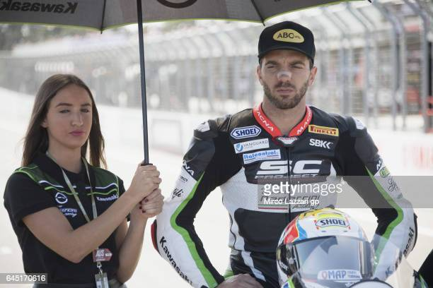Alex De Angelis of Rep San Marino and Pedercini Racing prepares to start on the grid during the Race 1 during round one of the FIM World Superbike...