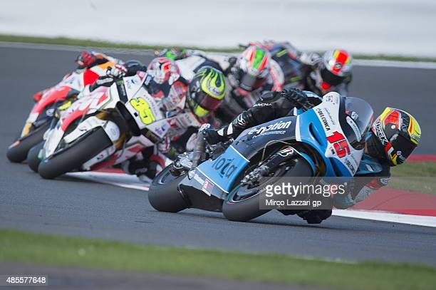 Alex De Angelis of San Marino and EMotion Iodaracing Team leads the field during the MotoGp Of Great Britain Free Practice at Silverstone Circuit on...