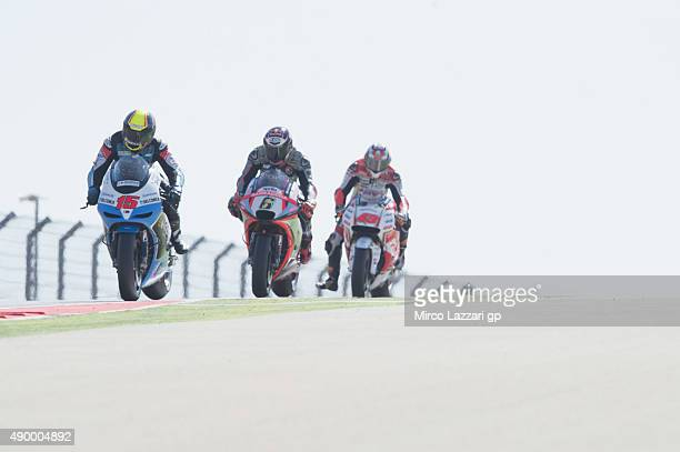 Alex De Angelis of San Marino and EMotion Iodaracing Team leads the field during the MotoGP of Spain Free Practice at Motorland Aragon Circuit on...