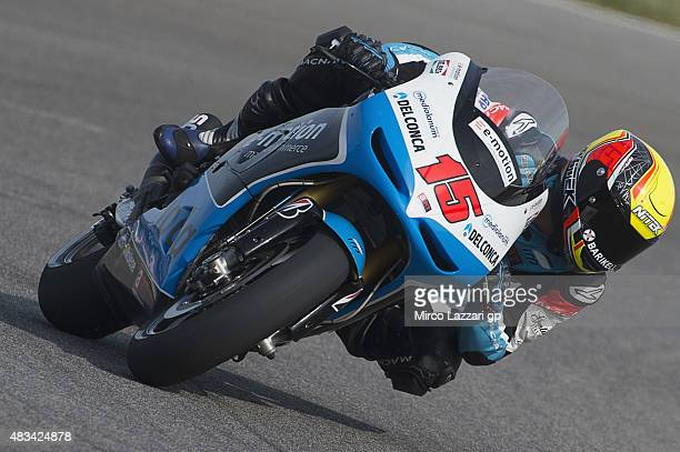 Alex De Angelis of San Marino and EMotion Iodaracing Team rounds the bend during the MotoGp Red Bull US Indianapolis Grand Prix Qualifying at...