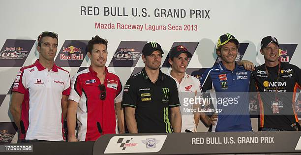 Alex De Angelis of San Marino and Ignite Pramac Racing Team Nicky Hayden of USA and Ducati Marlboro Team Cal Crutchlow of Great Britain and Monster...