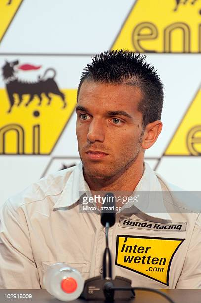 Alex De Angelis of San Marino and Interwetten MotoGP Team looks on during at the press conference preevent of Grand Prix of Germany at Sachsenring...