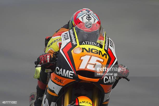Alex De Angelis of San Marino and NGM Mobile Forward Racing heads down a straight during the MotoGP Of Malaysia Free Practice at Sepang Circuit on...