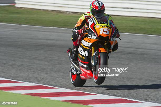 Alex De Angelis of San Marino and NGM Mobile Forward Racing lifts the front wheel during the MotoGP of San Marino Qualifying at Misano World Circuit...