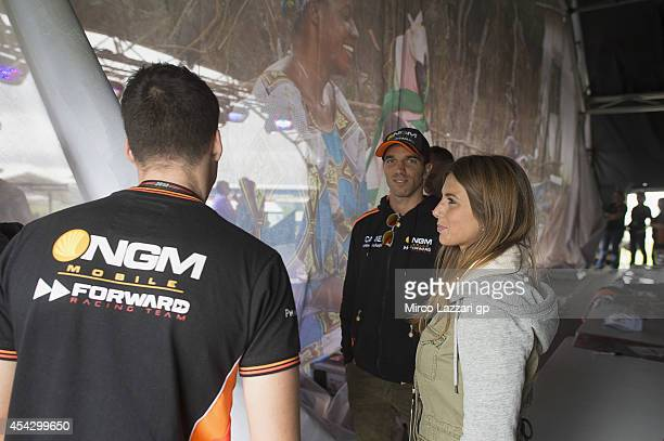 Alex De Angelis of San Marino and NGM Mobile Forward Racing looks on during the preevent 'Riders for Health' during the MotoGp Of Great Britain Press...