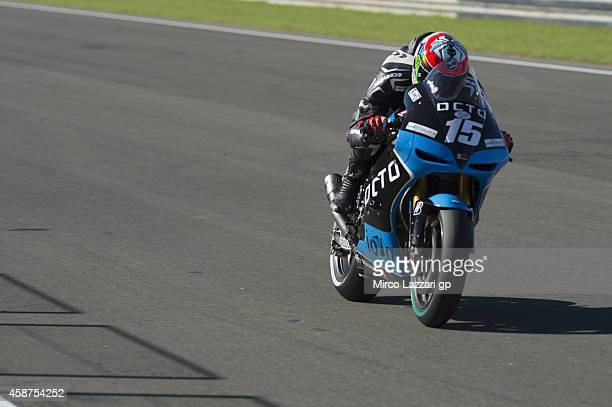 Alex De Angelis of San Marino and Octo Iodaracing Team heads down a straight during the MotoGP Tests in Valencia at Ricardo Tormo Circuit on November...