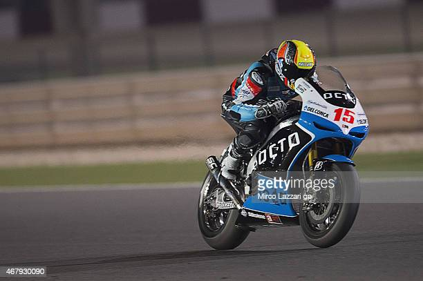 Alex De Angelis of San Marino and Octo Iodaracing Team heads down a straight during the MotoGp of Qatar Qualifying at Losail Circuit on March 28 2015...