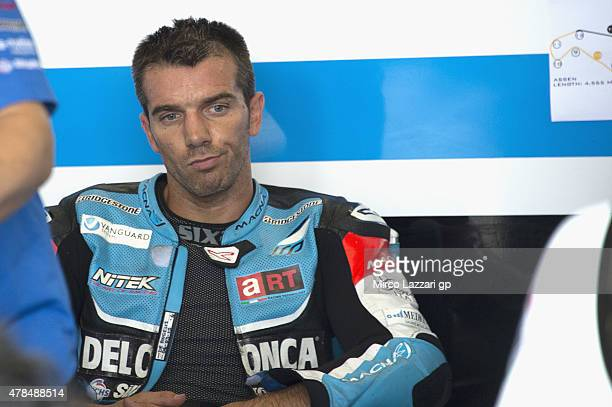 Alex De Angelis of San Marino and Octo Iodaracing Team looks on in box during the MotoGP Netherlands Free Practice at on June 25 2015 in Assen...