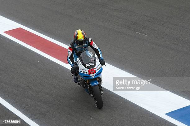 Alex De Angelis of San Marino and Octo Iodaracing Team returns in box during the qualifyng practice during the MotoGP Netherlands Qualifying at TT...