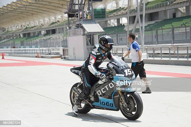 Alex De Angelis of San Marino and Octo Iodaracing Team starts from box during day three of the Sepang MotoGP Tests at Sepang Circuit on February 25...